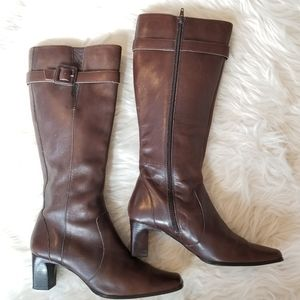 Anne Klein Leather Macrow Knee High Boots, Size 7.